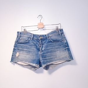 VINCE Distressed Button Up Mid Rise Jean Shorts 30